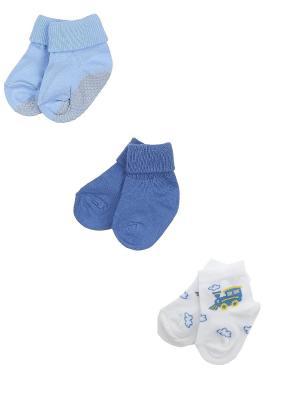 Носки детские,комплект 3 шт. Skinija. Цвет: индиго, белый, голубой