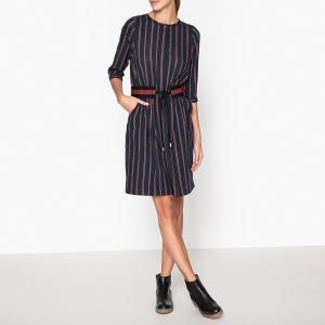 Платье в полоску LI AM SESSUN. Цвет: темно-синий/ красный