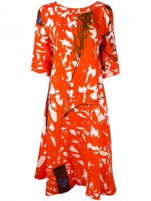 Платье с графическим принтом Daniela Gregis. Цвет: красный