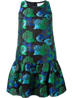 Жаккардовое платье с цветочным принтом Gianluca Capannolo. Цвет: зелёный