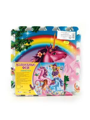 Коврик-пазл Играем вместе Волшебные феи 8 сегментов, каждый 31.5*31. см.. Цвет: голубой, розовый