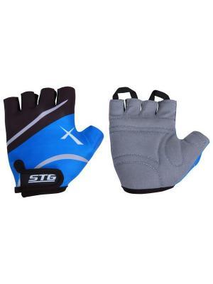 Велоперчатки STG. Цвет: синий, черный