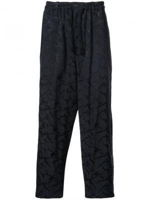 Брюки в пижамном стиле Yohji Yamamoto. Цвет: синий