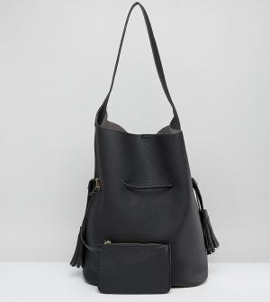 Street Level Черная большая повседневная сумка хобо. Цвет: черный
