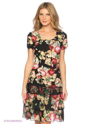 Платье Capriz. Цвет: черный, бежевый, красный