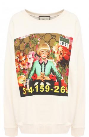 Хлопковый свитшот свободного кроя с принтом Gucci. Цвет: бежевый