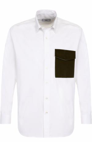 Хлопковая рубашка свободного кроя Ami. Цвет: белый