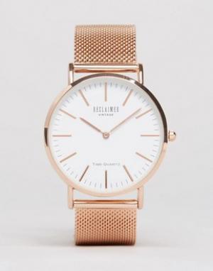 Reclaimed Vintage Классические часы цвета розового золота с сетчатым браслетом. Цвет: серебряный