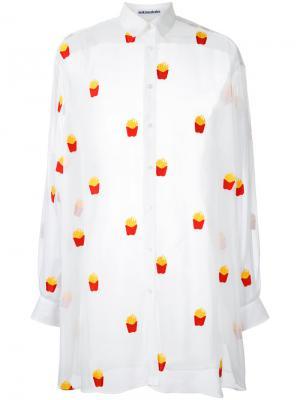 Рубашка с принтом картошки-фри Mikio Sakabe. Цвет: белый