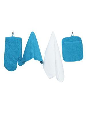 Набор кухонных принадлежностей из микрофибры: прихватка, рукавица, салфетка полотенце ТекСтиль для дома. Цвет: голубой, белый