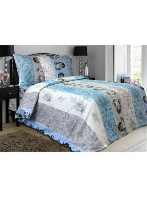 Комплект постельного белья,Евро Блакiт. Цвет: белый, голубой, серый