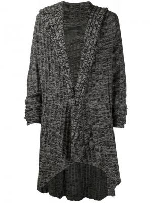 Пальто-кардиган с капюшоном In Aisce. Цвет: серый