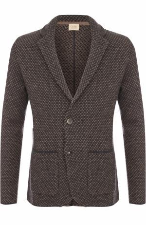 Однобортный шерстяной пиджак Sartoria Latorre. Цвет: коричневый