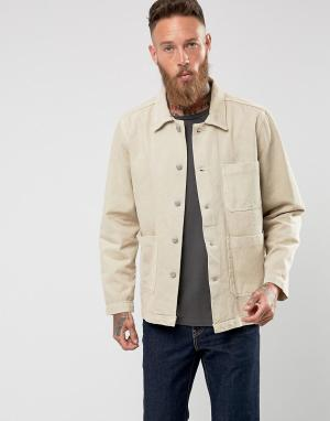 Weekday Джинсовая куртка песочного цвета. Цвет: бежевый