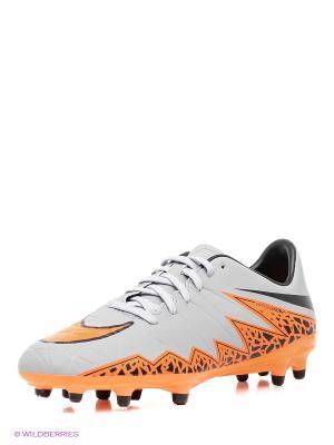 Бутсы HYPERVENOM PHELON II FG Nike. Цвет: серый, оранжевый