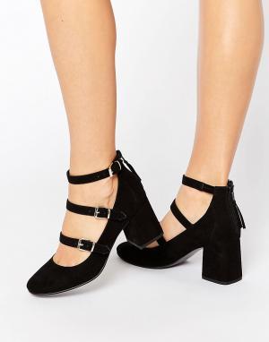 Office Туфли на среднем каблуке с ремешками Marty. Цвет: черный