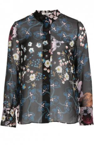 Шелковая блуза с воротником-стойкой и цветочным принтом Dorothee Schumacher. Цвет: разноцветный