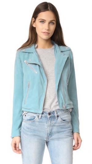 Укороченная замшевая байкерская куртка Who Doma. Цвет: голубой