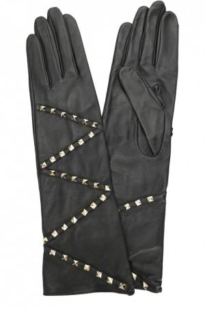 Кожаные перчатки с заклепками Agnelle. Цвет: черный