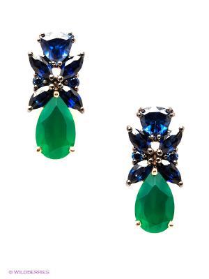 Серьги SOKOLOV. Цвет: синий, зеленый