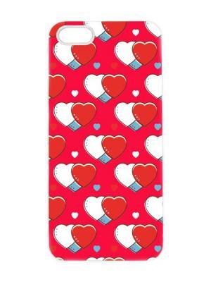 Чехол для iPhone 5/5s Красно-белые сердца Арт. IP5-097 Chocopony. Цвет: красный, белый