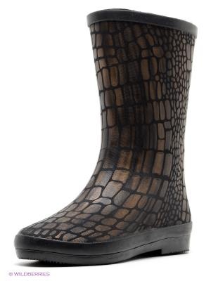 Резиновые сапоги KEDDO. Цвет: черный, коричневый