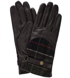 Кожаные перчатки с шерстяными вставками Barbour. Цвет: коричневый