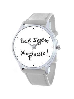 Дизайнерские часы Все будет хорошо Tina Bolotina. Цвет: черный, белый