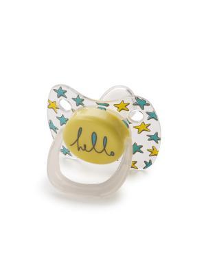 Силиконовая соска-пустышка ортодонт.формы с колпачкомBABY PACIFIER 0-12  YELLOW Happy Baby. Цвет: серый, голубой, светло-оранжевый, прозрачный, желтый
