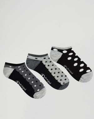 Penguin 3 пары носков в горошек. Цвет: черный