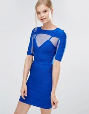 Forever Unique Бандажное платье с короткими рукавами Anousha. Цвет: синий