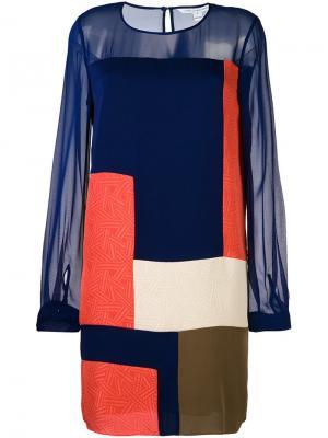 Платье с прозрачными рукавами Diane Von Furstenberg. Цвет: синий