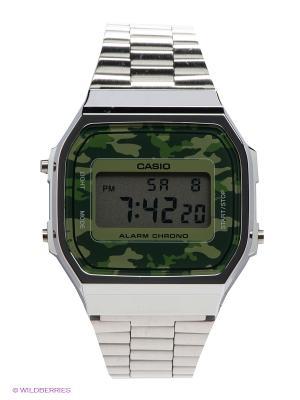Часы Casio A-168WEC-3E. Цвет: серебристый, зеленый