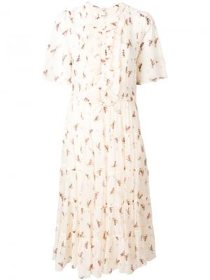 Расклешенное платье с цветочным рисунком Masscob. Цвет: телесный