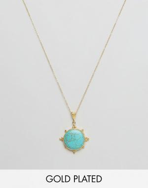Ottoman Hands Ожерелье с полудрагоценным камнем. Цвет: золотой