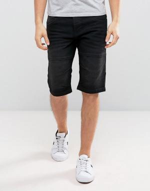 Solid Черные выбеленные джинсовые шорты. Цвет: черный