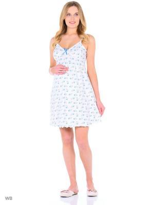 Сорочка для беременных и кормящих Hunny Mammy. Цвет: голубой, молочный