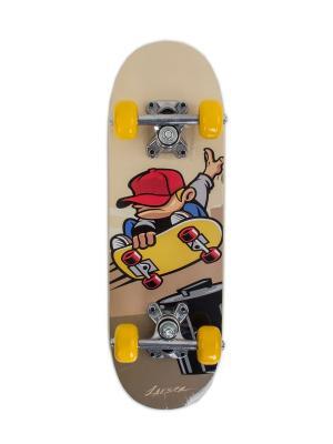 Скейтборд JUNIOR 2 Larsen. Цвет: желтый, бежевый, красный