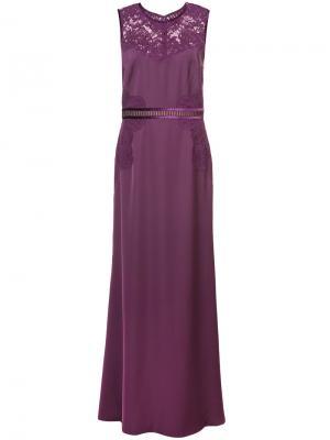 Длинное платье с кружевными панелями Tadashi Shoji. Цвет: розовый и фиолетовый