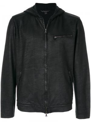 Куртка с капюшоном на молнии John Varvatos. Цвет: чёрный