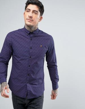 Farah Темно-синяя узкая рубашка с принтом пейсли. Цвет: темно-синий