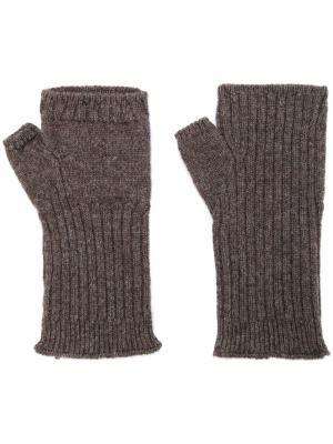 Перчатки в рубчик без пальцев Undercover. Цвет: коричневый