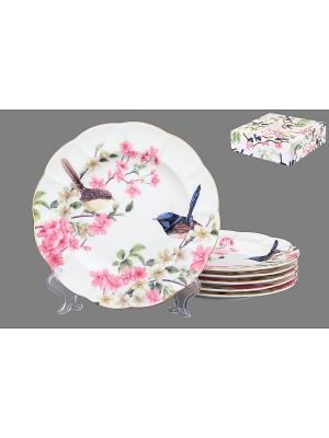 Набор тарелок Райские птички Elan Gallery. Цвет: белый, синий, зеленый, розовый