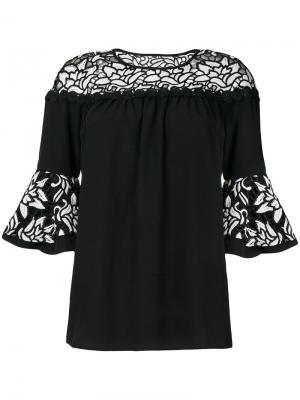 Блузка Eros с цветочным узором Jovonna. Цвет: чёрный