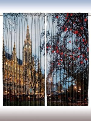 Комплект фотоштор Вечер в мировых столицах, 290*265 см Magic Lady. Цвет: голубой