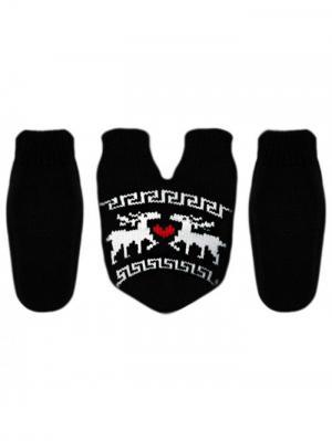 Варежки для влюблённых Knitto.ru. Цвет: черный