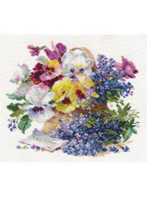 Набор для вышивания Послание любимой  29х25 см Алиса. Цвет: белый, голубой, желтый, зеленый, коричневый, светло-голубой, сиреневый, темно-фиолетовый, фиолетовый