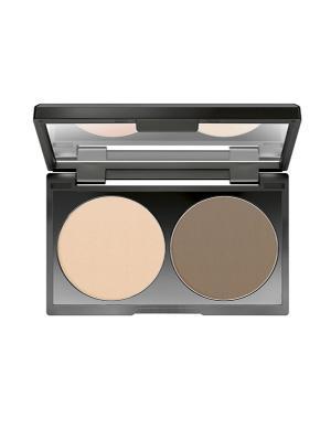 Компактная пудра для контуринга Duo Contouring Powder №07, оттенок светлый кофе Make up factory. Цвет: светло-бежевый, коричневый