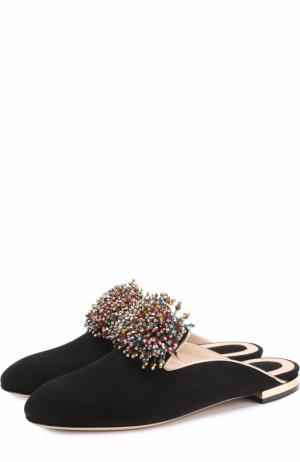 Замшевые сабо с кристаллами Elie Saab. Цвет: черный