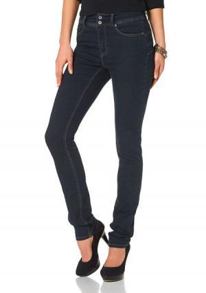 Моделирующие джинсы Arizona. Цвет: стираный, белый, темно-синий потертый